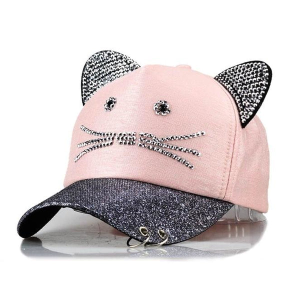 Pink Rhinestone Diamond Kitty Cat Ear Snapback Hat Ballcap Kawaii Fashion