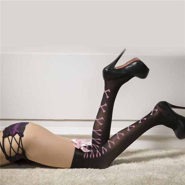 Sexy Corset Pink Ribbon Bow Stockings Knee High Socks Thigh Highs Black and Pink