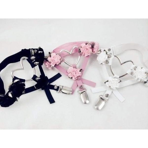 Pink Heart Rose Garter Belt Harness BDSM Kawaii Kink Fetish DD/LG MDLG CGL Little Space Vegan Leather Spikes by DDLG Playground