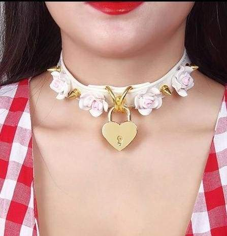 White Heart Rose Locket Choker Necklace Collar BDSM Kawaii Kink Fetish DD/LG MDLG CGL Little Space Vegan Leather Spikes by DDLG Playground