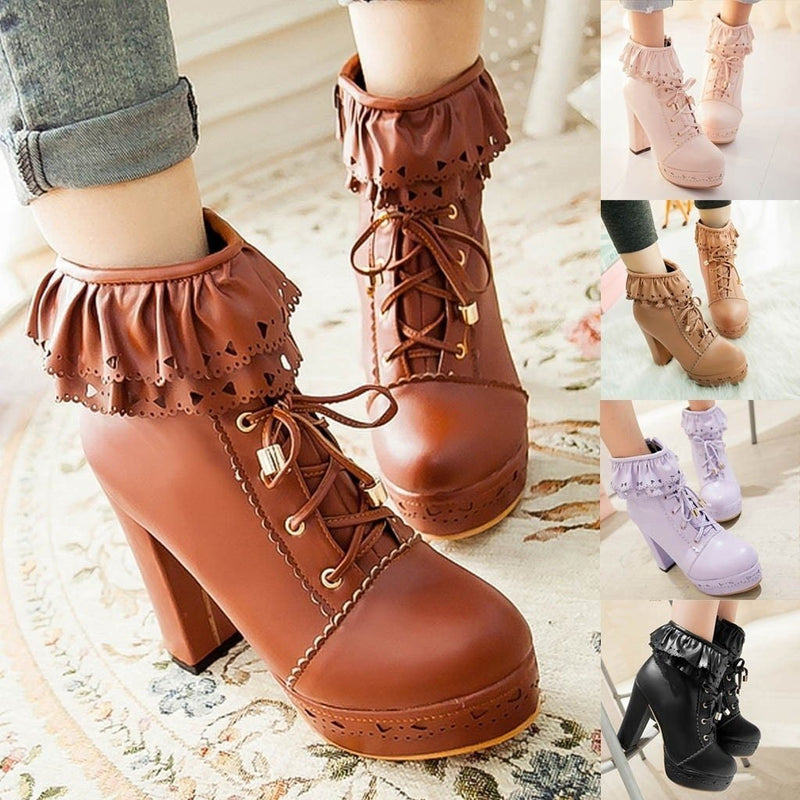 Ruffled Lace Lolita Booties - boots