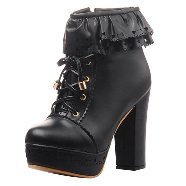 Ruffled Lace Lolita Booties - Black / 9.5 - boots