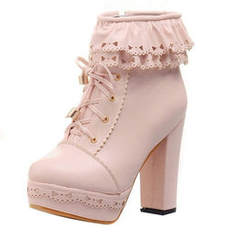 Ruffled Lace Lolita Booties - Pink / 6 - boots