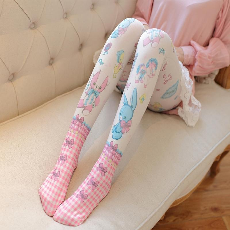 baby nursery sweet lolita stockings tights pantyhose nylons ddlg littlespace dd/lg cgl teddy bear toys print harajuku japan fashion by kawaii babe