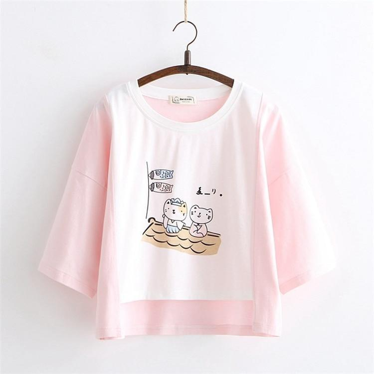 Sailing Kitten Tee - Pink - t-shirt