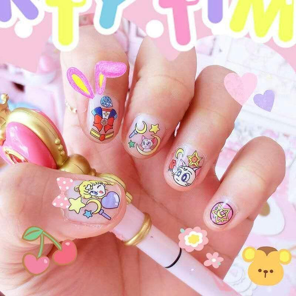 Sailor Moon Magical Girl Nail Art Stickers Nail Decals Artwork Mahou Shoujo Anime Otaku