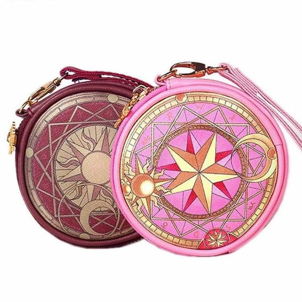 Card Captor Sakura Magical Girl Coin Pouch Bag Purse Zippered Clow Pink mahou Shoujo Anime Girls Kawaii Babe