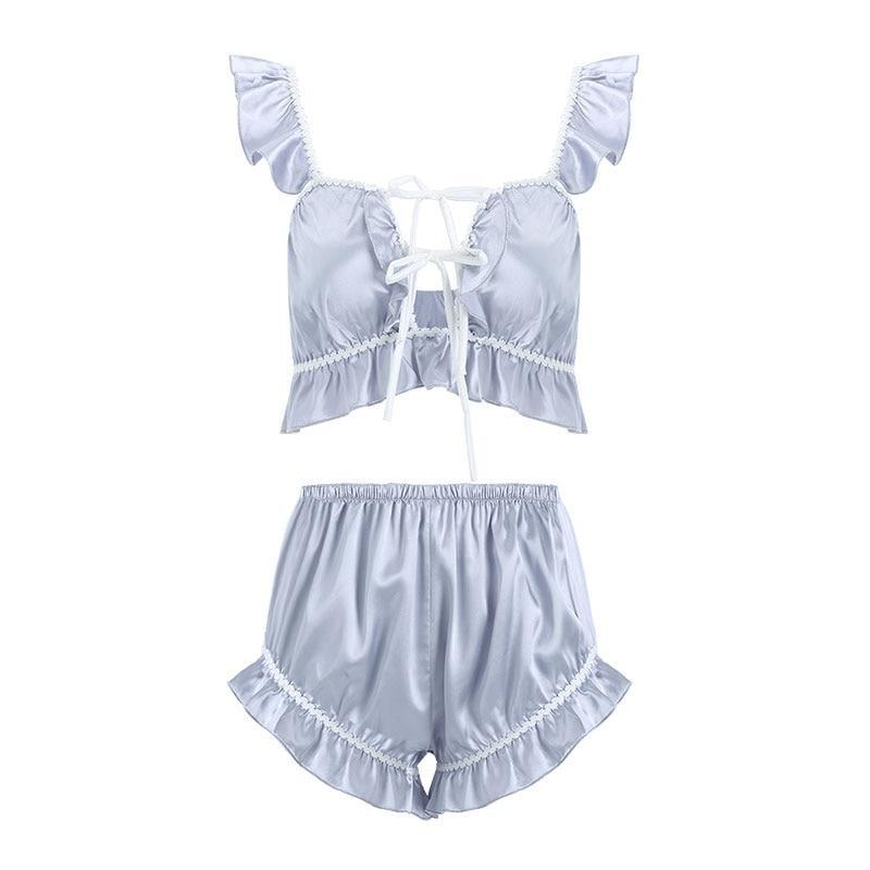 Satin Babydoll Sleep Set - cami, camisole, crop top, tops, lingerie