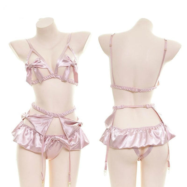 Pink Silk Satin Ribbon Lingerie Set Sissy Fetish Kink Girly Girl by DDLG Playground