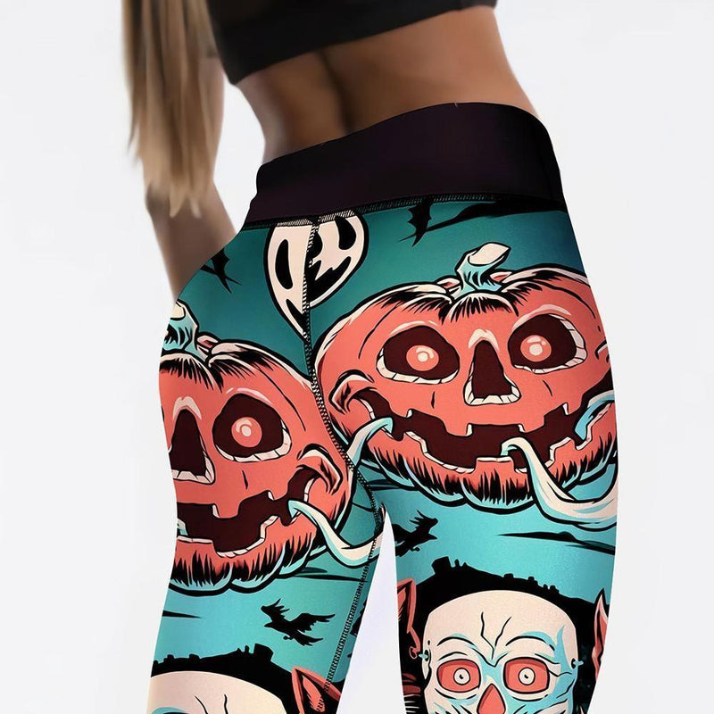 Screaming Pumpkin Leggings - halloween, halloween leggings, jack o lantern, jackolantern, pants