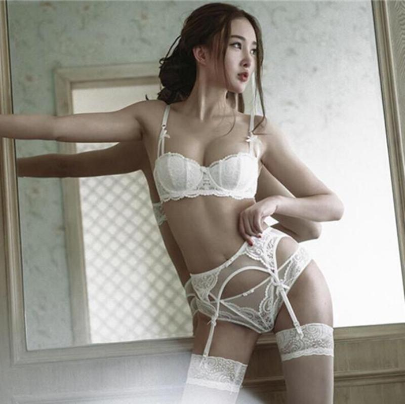 White Seductive Lingerie Set With Garter Belt Harness Shelf Bra And Lace Underwear See Through Kinky Fetish by DDLG Playground