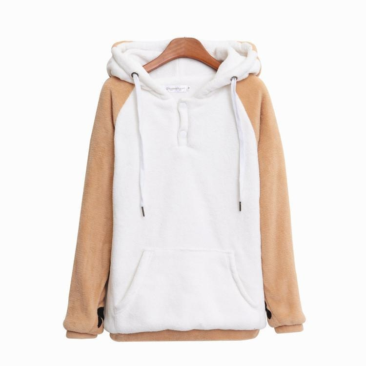 Brown Puppy Dog Ear Hoodie Sweater Sweatshirt Pullover Kawaii Cute Fox Tail