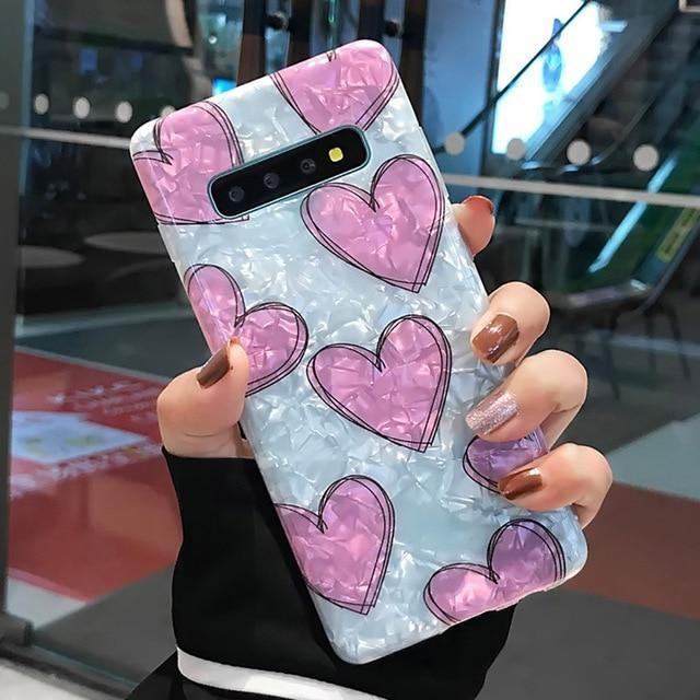 Shimmering Heart Samsung Cases - For Samsung S8 Plus / Pink - phone case