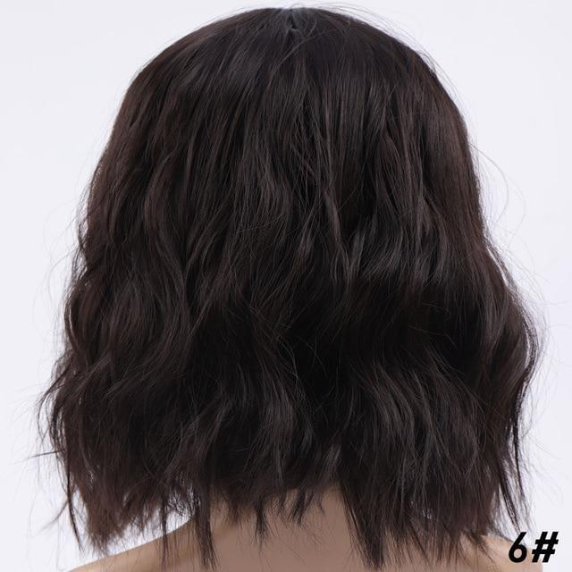 Short Wavy Brown Wig With Bangs Fringe Lace Front Kanekalon Fibre