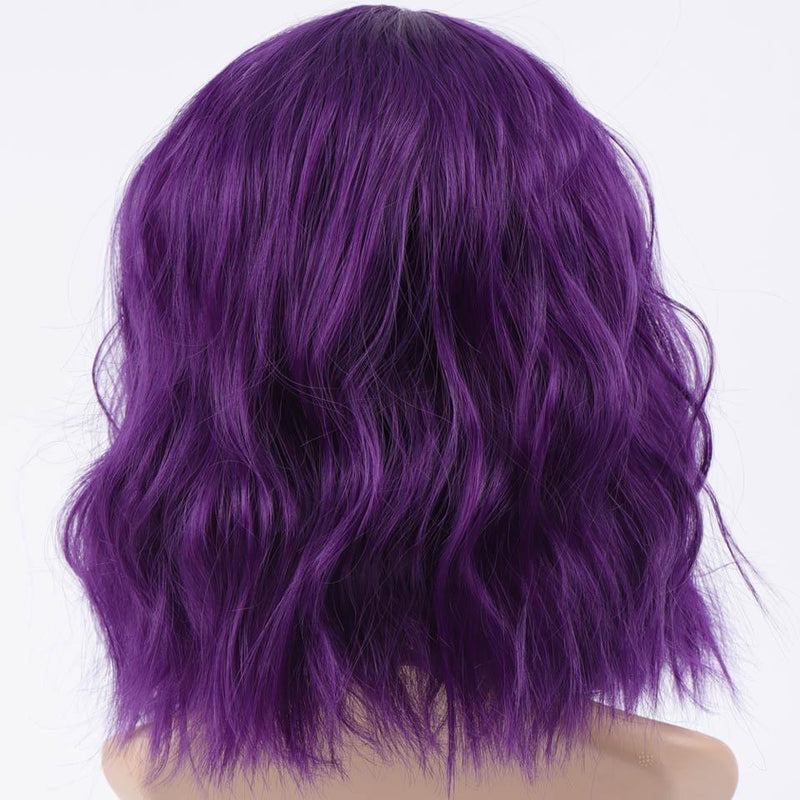 Short Wavy Purple Wig With Bangs Fringe Lace Front Kanekalon Fibre
