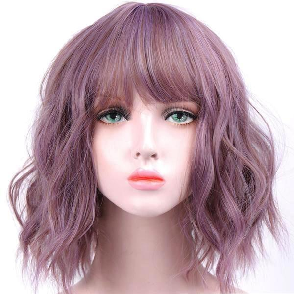 Short Wavy Pastel Purple Wig With Bangs Fringe Lace Front Kanekalon Fibre