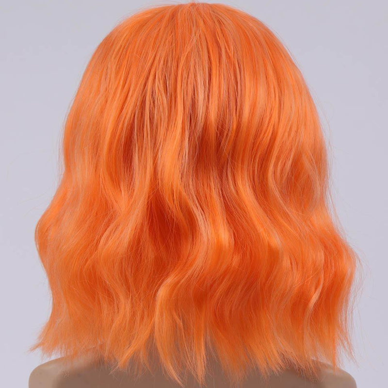 Short Wavy Orange Wig With Bangs Fringe Lace Front Kanekalon Fibre