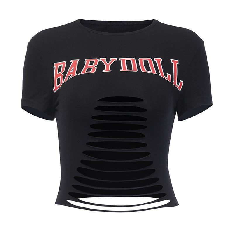 Shredded Babydoll Crop Top - shirt