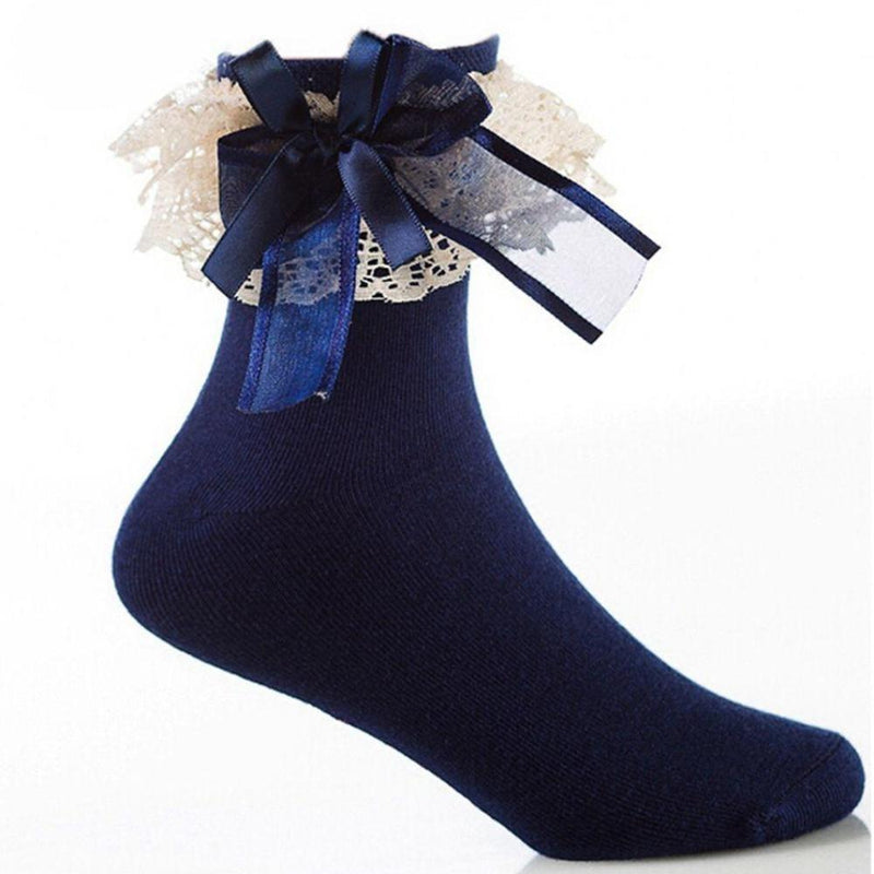 Navy Blue Ruffled Ribbon Silk Ankle Socks Princess Cute Kawaii