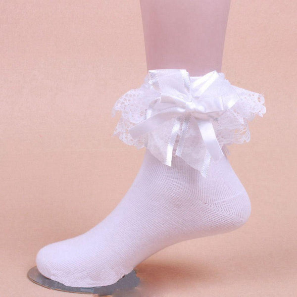 White Ruffled Ribbon Silk Ankle Socks Princess Cute Kawaii