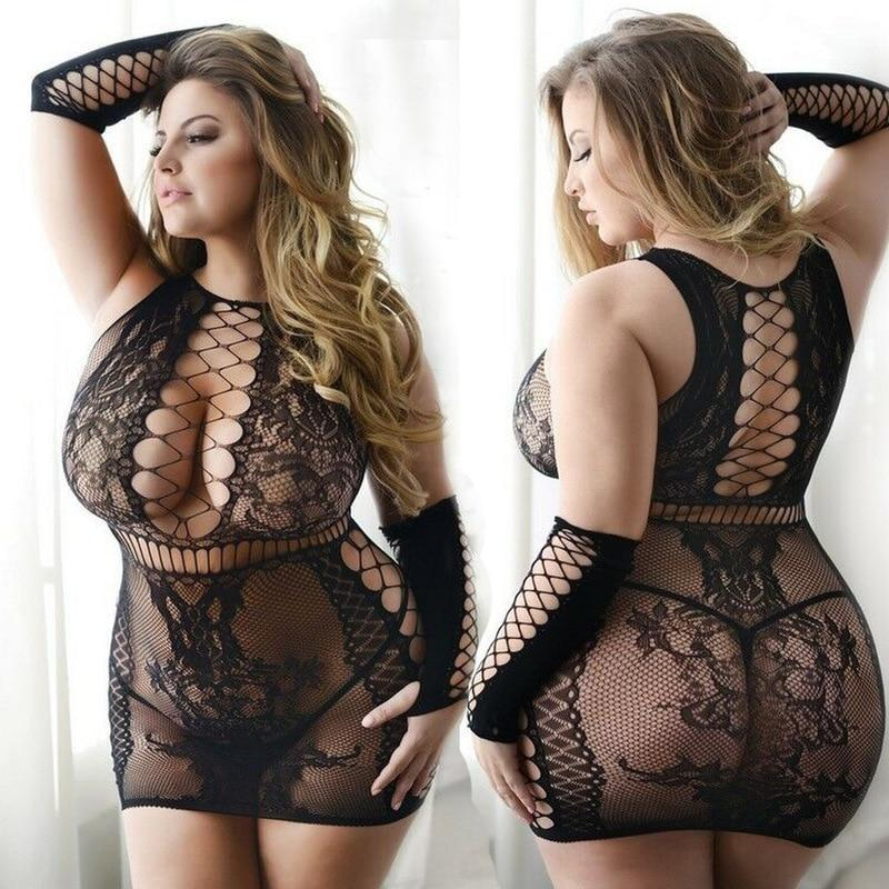 Plus Size Fishnet Bodysuit - Single Piece Style - big, bodysuit, bodysuits, crop, crop shirt