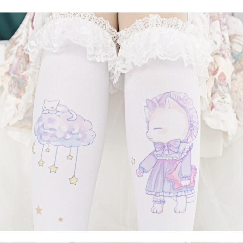 Sleepy Kitten Lolita Stockings - bear, fairy kei, kei socks, stockings, furry socks