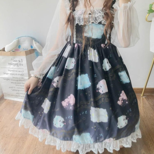 Sleepy Sheep Lolita Dress - Black - jsk, jsk dress, fashion, lolita jsks