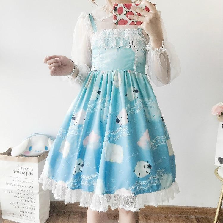 Sleepy Sheep Lolita Dress - Bright Blue - jsk, jsk dress, fashion, lolita jsks