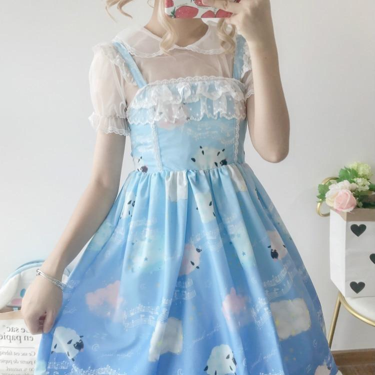 Sleepy Sheep Lolita Dress - Lighter Blue - jsk, jsk dress, fashion, lolita jsks