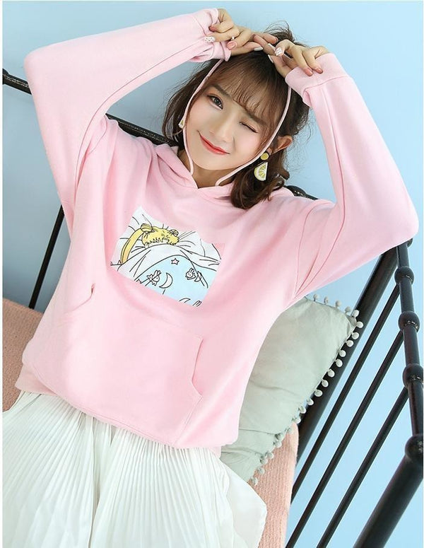 Sleeping Sleepy Usagi Sailor Moon Hoodie Pullover Sweater Pastel Pink Kawaii Cute