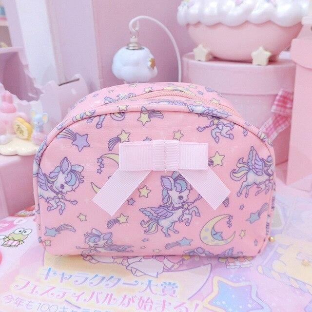 Smol Unicorn Cosmetic Bag - Oval Pink - storage