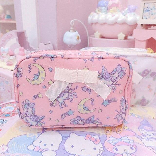 Smol Unicorn Cosmetic Bag - Square Pink - storage