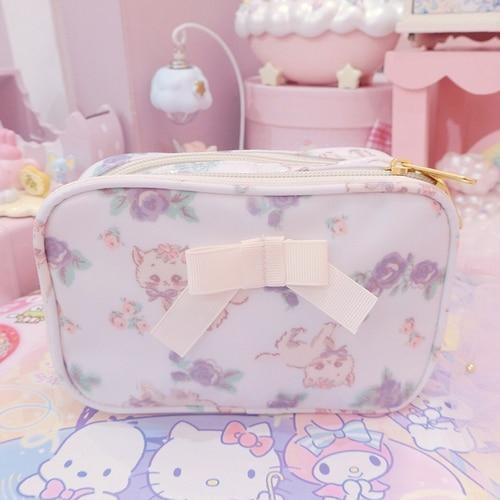 Smol Unicorn Cosmetic Bag - Square White - storage