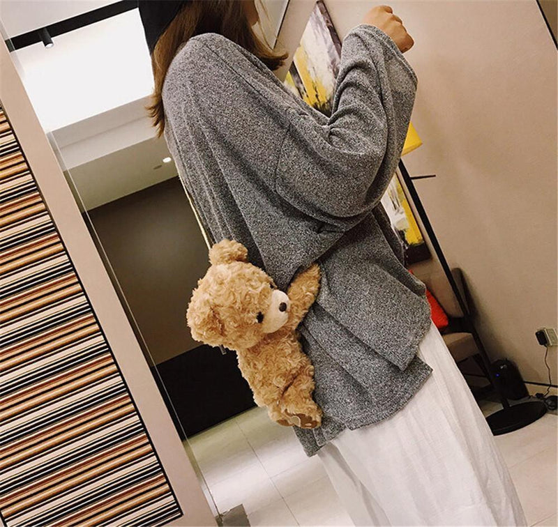 Brown Teddy Bear Purse Handbag Cross Body Messenger Bag Fluffy Soft Kawaii Cute