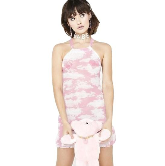 Kawaii Pink Cloud Dress Cute FLuffy Pastel Fairy Kei Fashion Little SPace