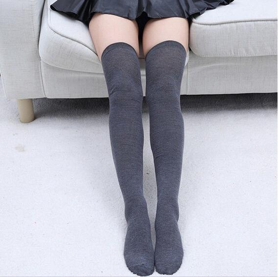 Solid Thigh High Stockings - Dark Grey Stockings - socks