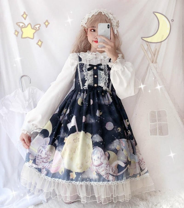 Space Travel Lolita Dress - alien, aliens, cat, dresses, et