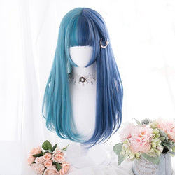 Split Blue Lolita Wig - Straight - cosplay, cosplayer, curly, hair, kanekalon