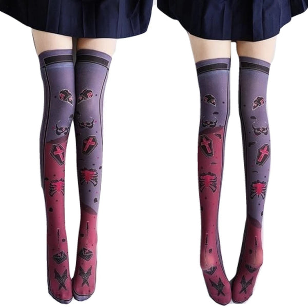 Spooky Creepy Gothic Lolita Stockings Socks Thigh Highs Kawaii