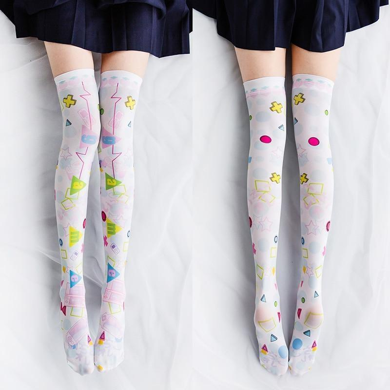 Spooky Cute Stockings - Starry Graphic Stockings - stockings