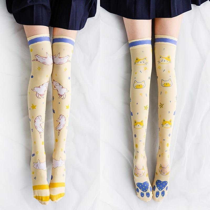 Spooky Cute Stockings - Yellow Kitten Stockings - stockings