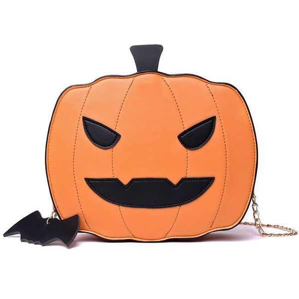 Spooky Pumpkin Halloween Purse Handbag Creepy Cute Gothic Bag With Bat Keychain