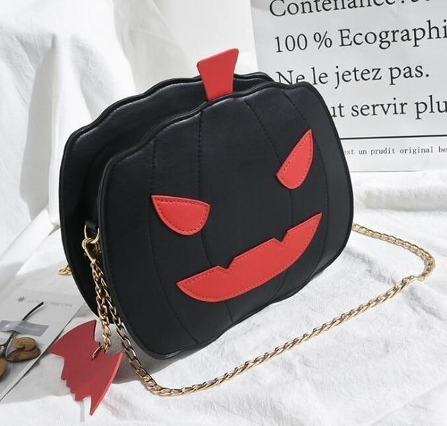 Black Spooky Pumpkin Halloween Purse Handbag Creepy Cute Gothic Bag With Bat Keychain