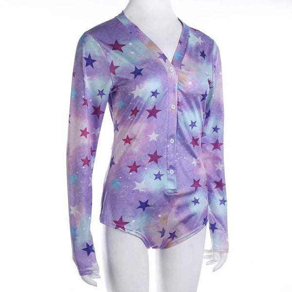 Starry Galaxy Sleeper - bodysuit, bodysuits, creepy, creepy cute, fairy kei