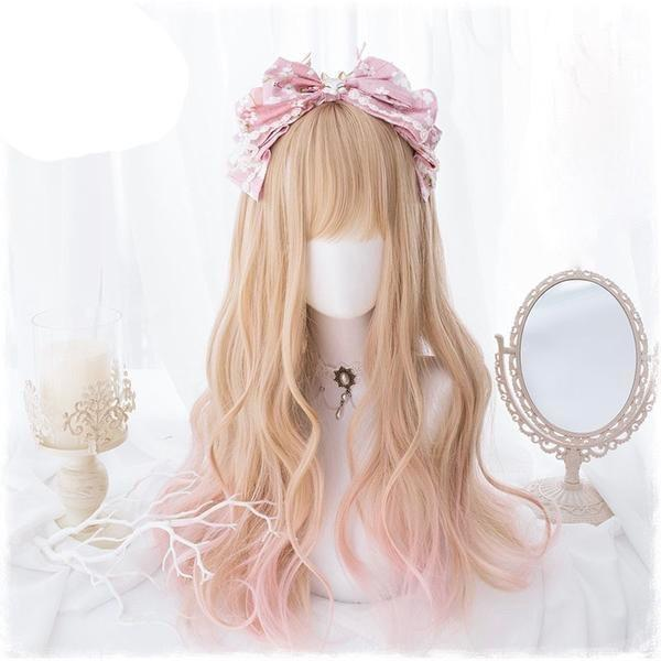 Long Strawberry Blond Hair Wig Cosplay Harajuku Fashion