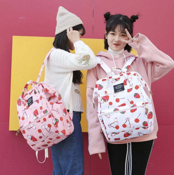 Strawberry Bunny Rabbit Backpack Book Bag Kawaii Harajuku Strawbunny