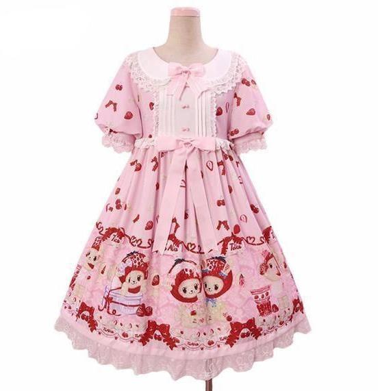Strawberry Bunny Lolita Dress Harajuku Japan Street Fashion Kawaii Style Cute Youthful Young