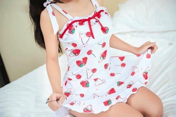 Kawaii Strawberry Bunny Dress Romper Tank Top White Berries Bunnies Cute Harajuku Princess