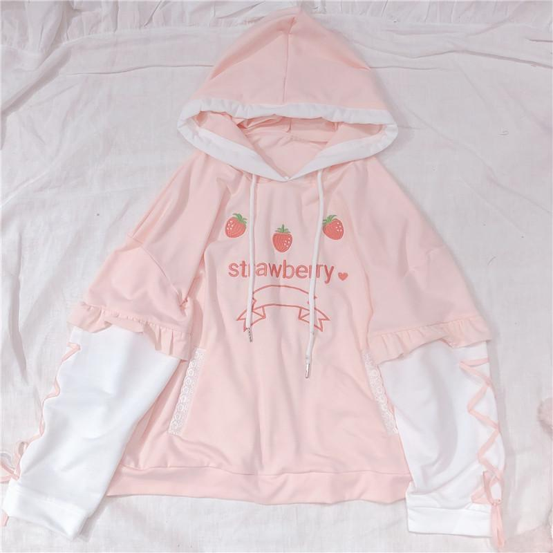Pink Strawberry Hoodie Silk Ribbon Corset Sleeves Kawaii Cute