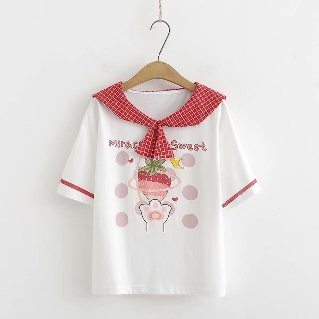 Kawaii Strawberry Sailor Blouse T-Shirt Cute White Cat Paw Red Berry Fruit